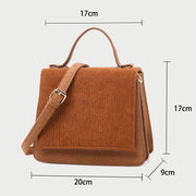 Chic flap style top handle dual compartment faux suede crossbody bag