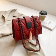 Square embellished strap quilted PU leather crossbody bag