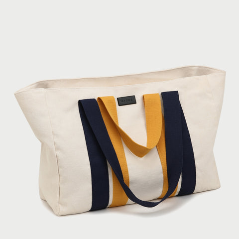 Contrast handle roomy canvas tote bag