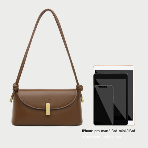 Metal clasp flap knotted strap PU leather shoulder bag