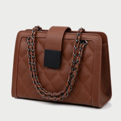 Square embellished quilted PU leather crossbody bag
