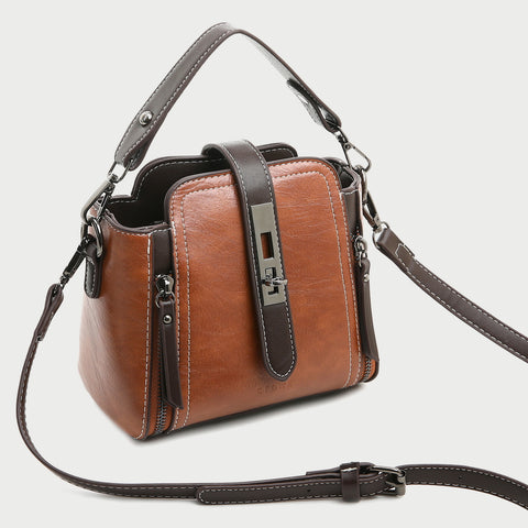 Metal turn-lock strap zip side PU leather crossbody bag