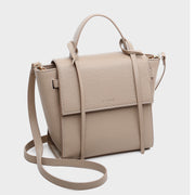 Strapped handle flap-front PU leather crossbody bag