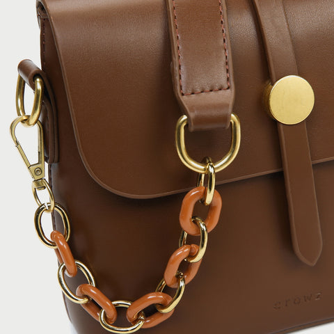 Retro studded flap chained strap PU leather crossbody bag