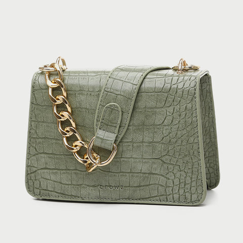 Flapover boxy croc-embossed PU leather crossbody bag