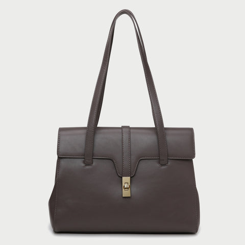 Strapped turn-lock flap two-compartment PU leather tote bag