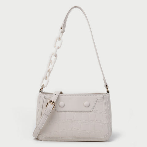 Croc-effect panel chained handle PU leather shoulder bag