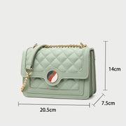 Colourblock disc embellished flap quilted PU leather crossbody bag
