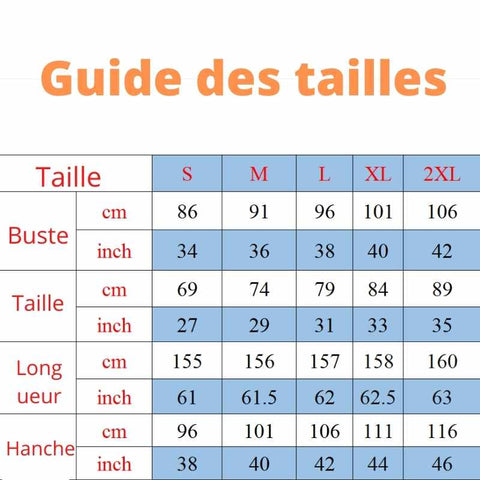 guide de taille robe africaine