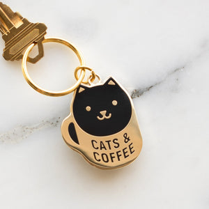 Coffee Cat Keychain