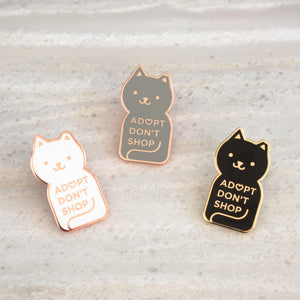 Load image into Gallery viewer, Adopt Don't Shop Enamel Cat Pins