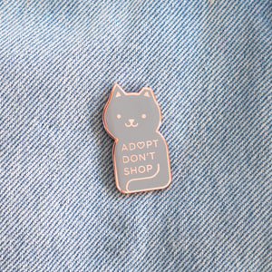 Load image into Gallery viewer, Adopt Don't Shop Enamel Cat Pin