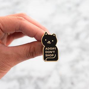 Adopt Don't Shop Enamel Cat Pin