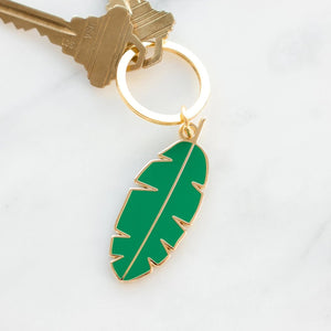 Load image into Gallery viewer, Banana Leaf Enamel Keychain