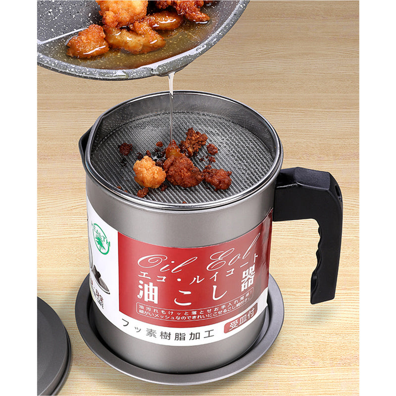 Grease Container with Coaster tray, Dust proof Lid, Stainless steel mesh strainer for Cooking, Frying oil