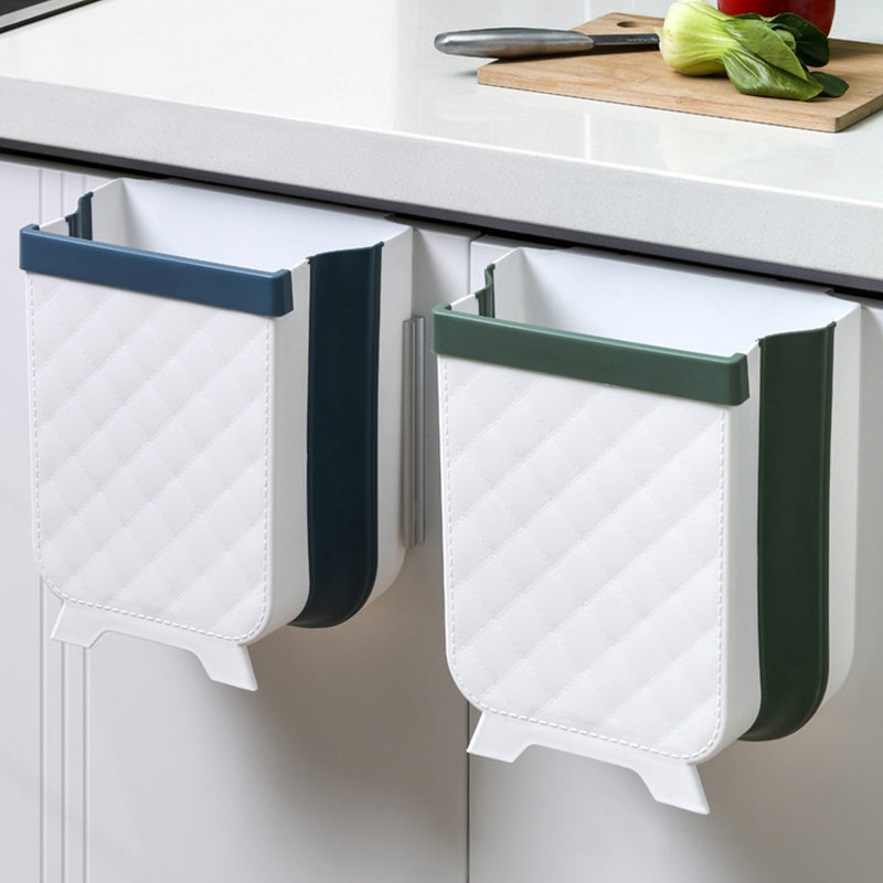 Collapsible Portable Waste Garbage Basket hanging over cabinet door