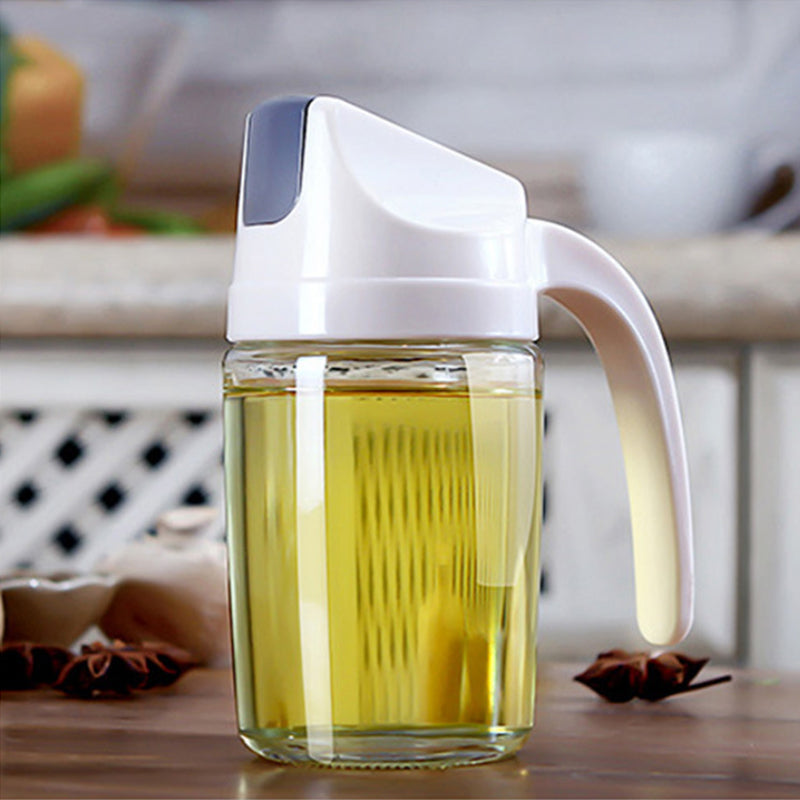 Glass Oil Dispenser / Oil Jar with Auto Cap