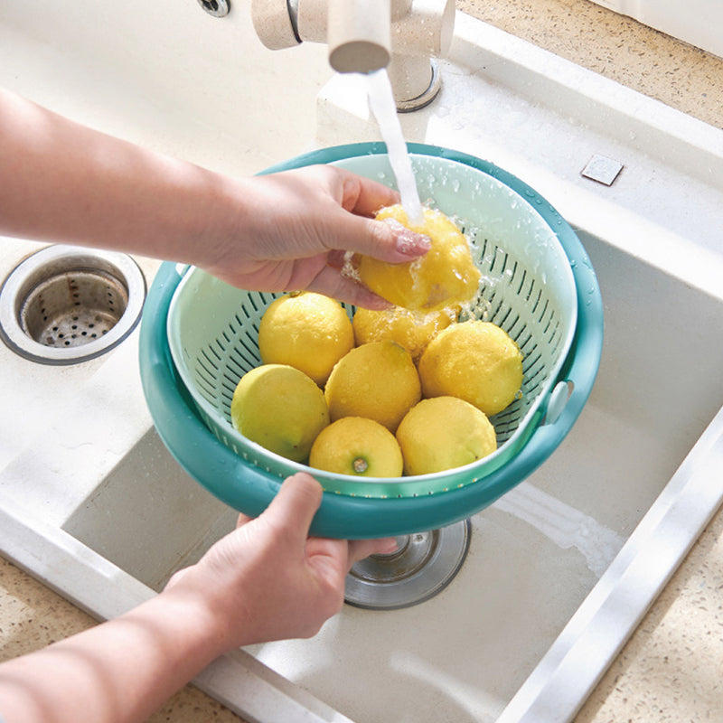 Strainer Colander Bowl Set for Washing Fruits Vegetables, Detachable Kitchen Food Drainer Basket