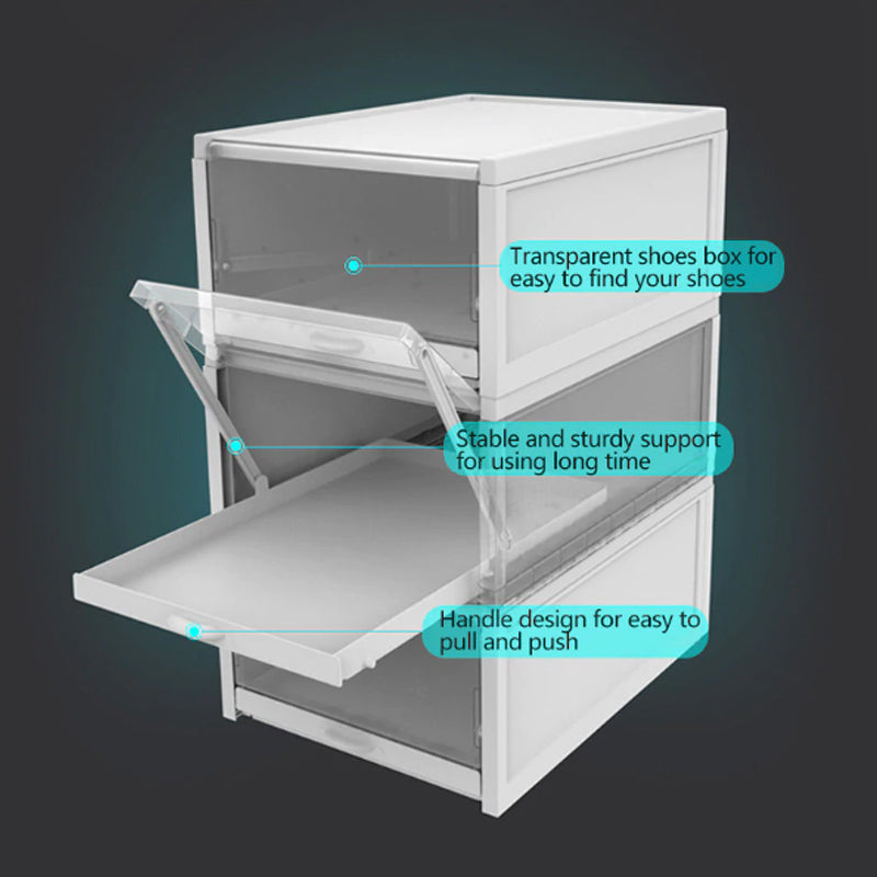 Stackable Shoe Box Organiser with Pull out Drawer (3 pieces Set)