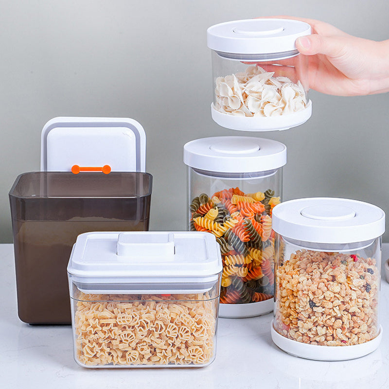 Pop Up Airtight Food Storage Glass Container Canister for Flour Milk Powder Dry Food Pasta