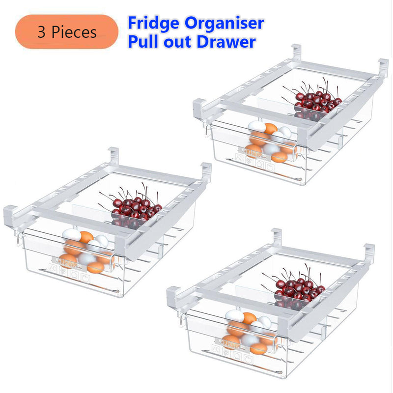 Retractable Fridge Pull out Drawer Organiser, Shelf Holder Storage Box Container