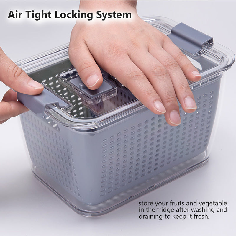 Fridge Storage Container with Drainer, Air tight locking Lid. Fridge Organiser