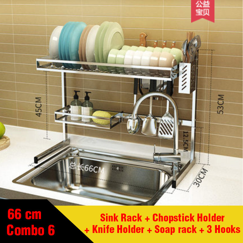 Designer Stainless Steel Kitchen Sink Rack with Accessories (66 cm width)