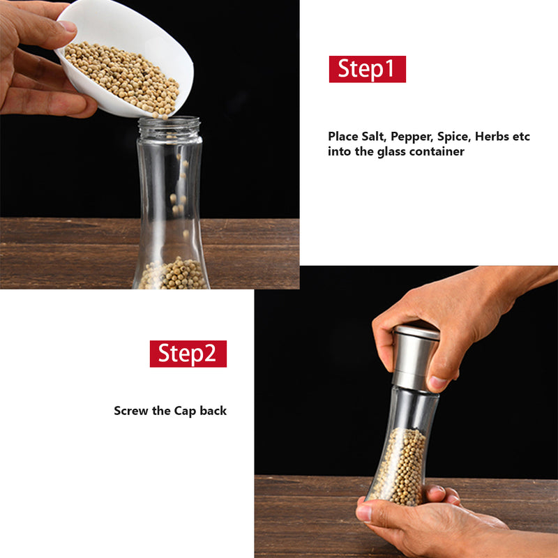 Hand Grinder with Brushed Stainless Steel Finish, Ceramic mill and Adjustable Coarseness. For Salt, Pepper, Spices, Herbs.