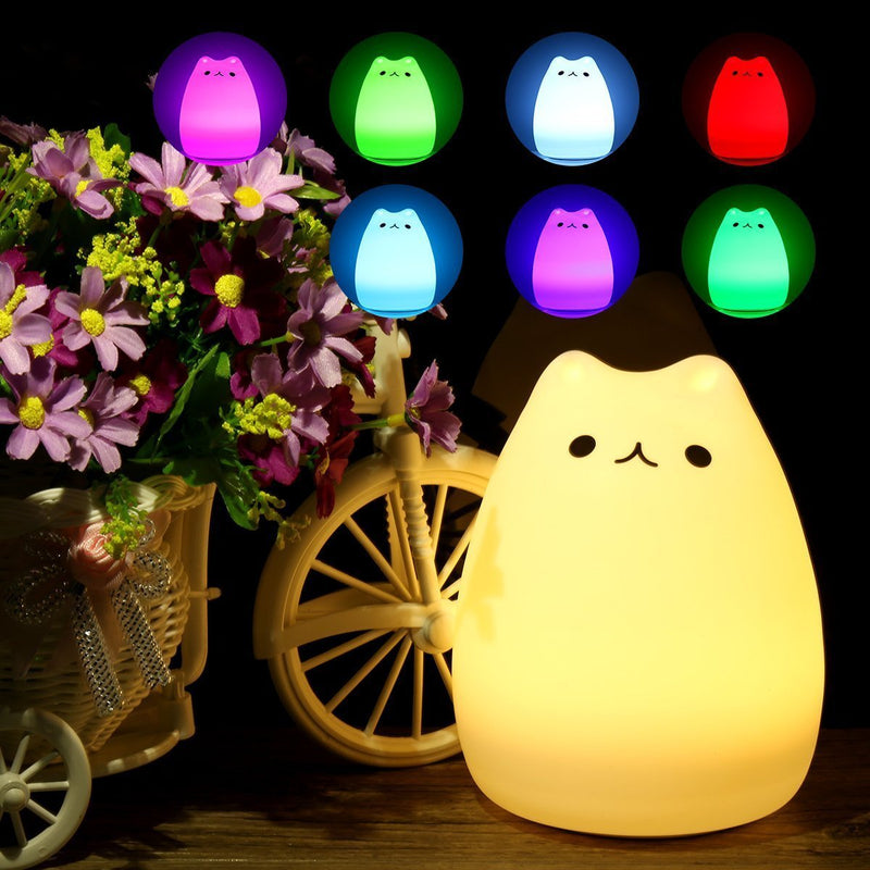 [Cat Series] USB Rechargable 7 Colour Changing LED Night Light Touch Sensor
