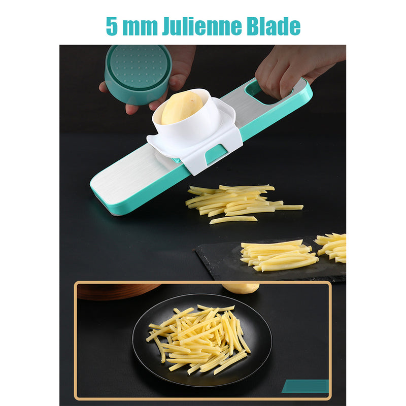 Stainless Steel Vegetable Slicer Cutter with 6 interchangeable blades for Slicer, Julienne, Grater