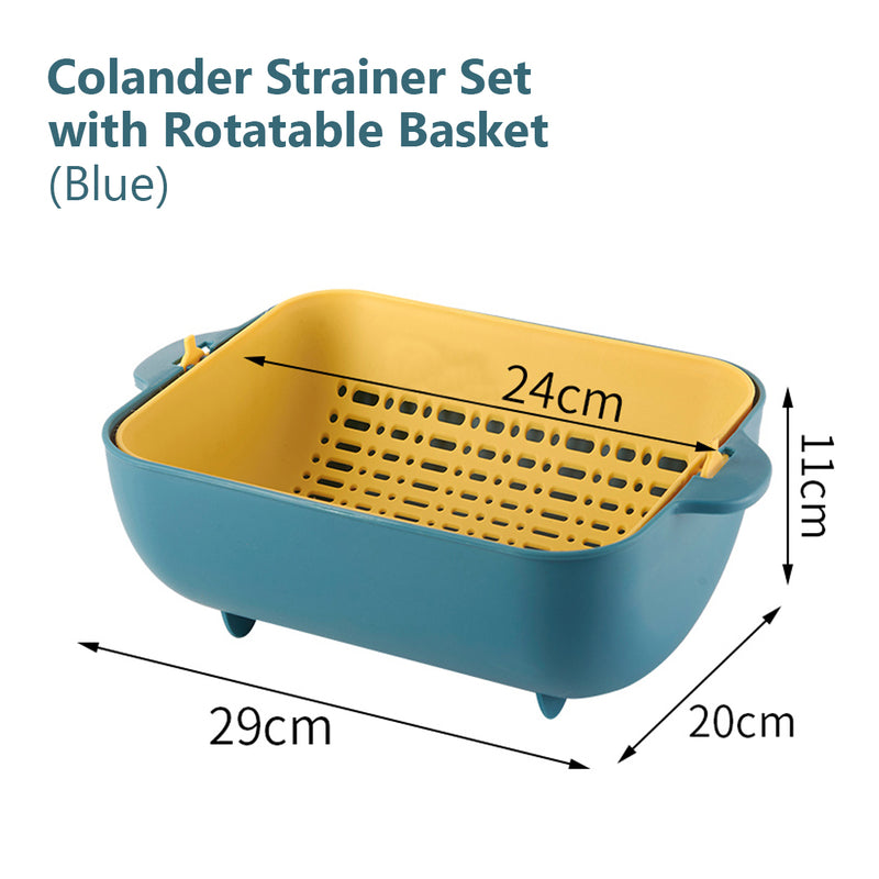 Strainer Colander Set for Washing Fruits Vegetables, detachable kitchen food drainer basket