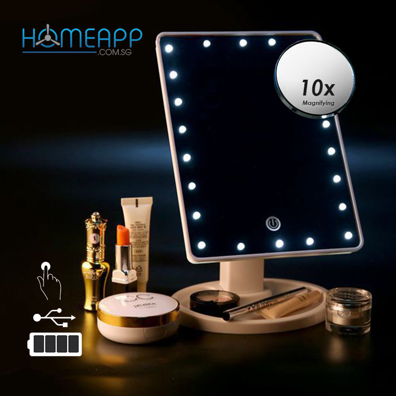 Lighted Make-Up Mirror with 22 LED Lights and detachable 10x magnifying Mirror (USB Rechargeable)