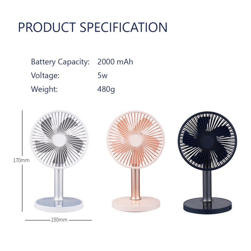 Ultra Silent Desktop Table Fan with Adjustable tilt, Height and LED Light. 4 Speeds with 2000mah Battery for Home and Office- USB Rechargeable