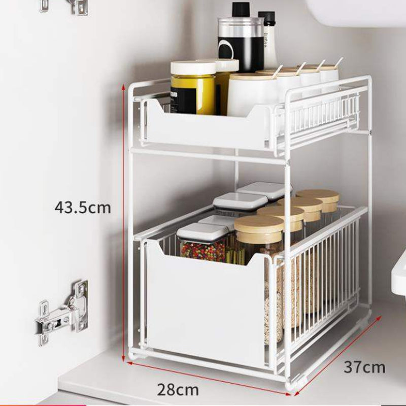 2 Tier Sliding Drawer Basket Storage Shelf for Cabinet, Kitchen under Sink Organiser