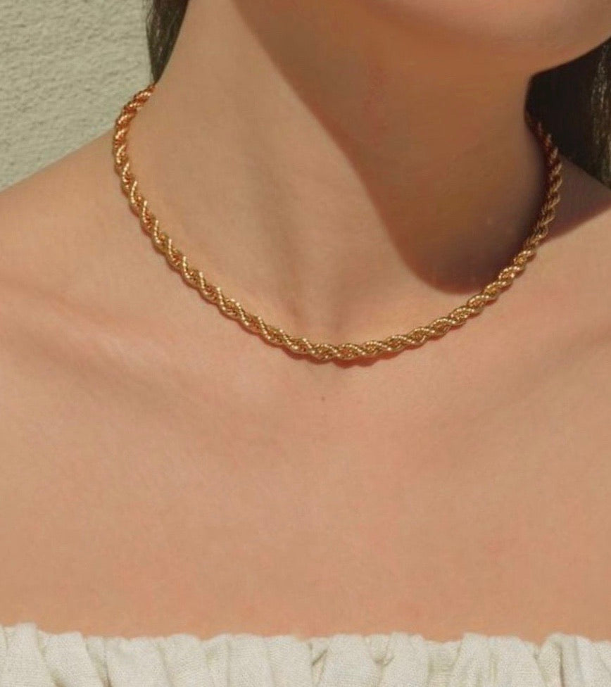 Gold Twisted Rope Necklace