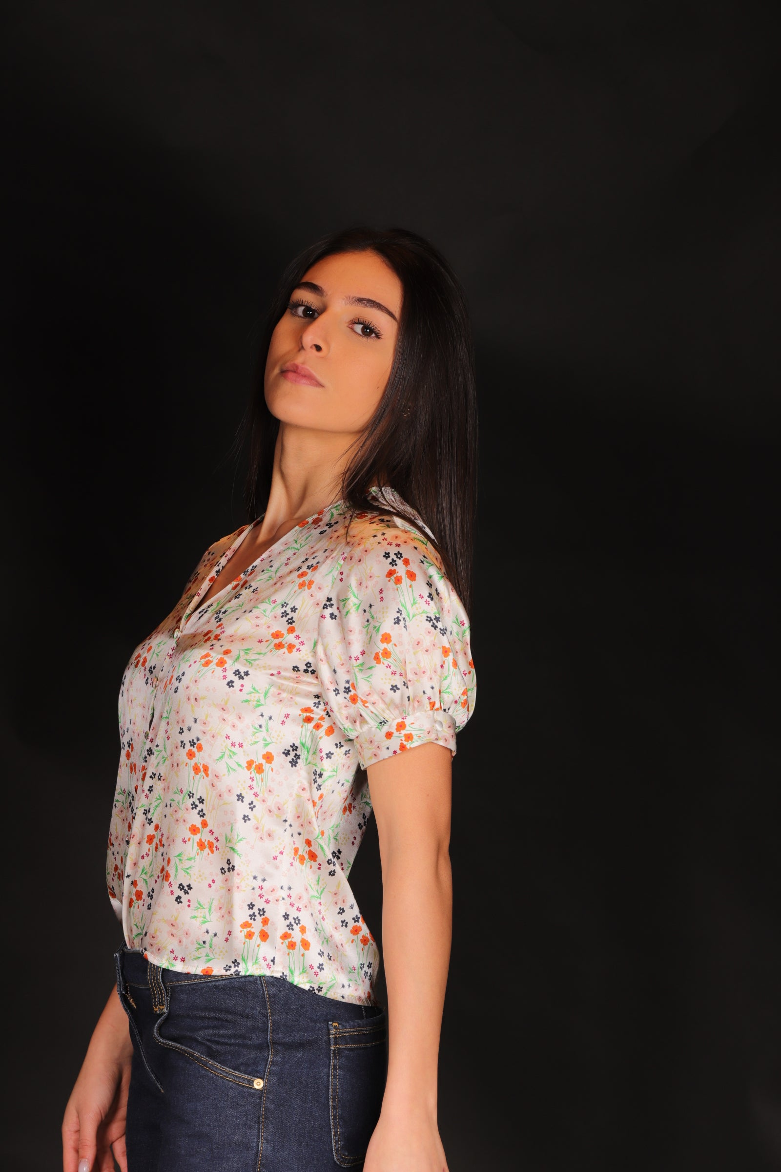"L'Autre Chose Donna Camicia Fantasia Mezza Manica IN Seta ""Top Scollo V Bianco"""