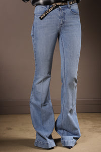 Stella MC Cartney - Jeans A Zampa Con Cinta Nastro Logoeco Org Salt&Pepper Trousers