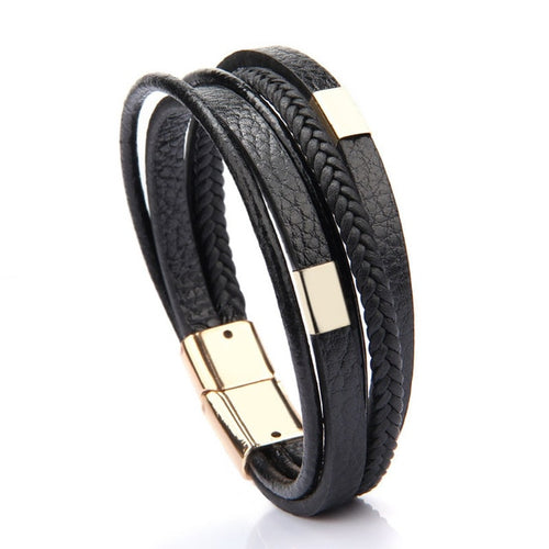 leather bracelet  Magnetic-Clasp Cowhide Braided Multi Layer Wrap(Multi-colors)