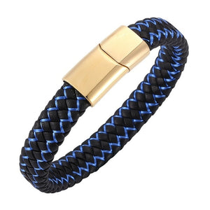 Fashion Braided Leather Bracelet Men Stainless Steel Magnetic Clasp(Multi-colors)