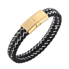 Load image into Gallery viewer, Fashion Braided Leather Bracelet Men Stainless Steel Magnetic Clasp(Multi-colors)