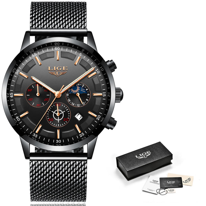 Men's Casual Quartz Wristwatch  Stainless Steel Waterproof Sport Chronograph+Box