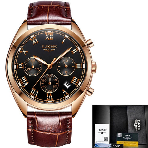 Men's Luxury Leather Chronograph Waterproof