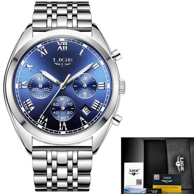 Men's Luxury Chronograph Watch Stainless Steel