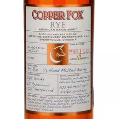 COPPER FOX .750L RYE WHISKEY VIRGINIA