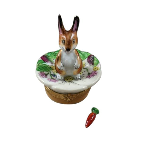 Brown Bunny On Leaf With Removable Carrot Limoges Box