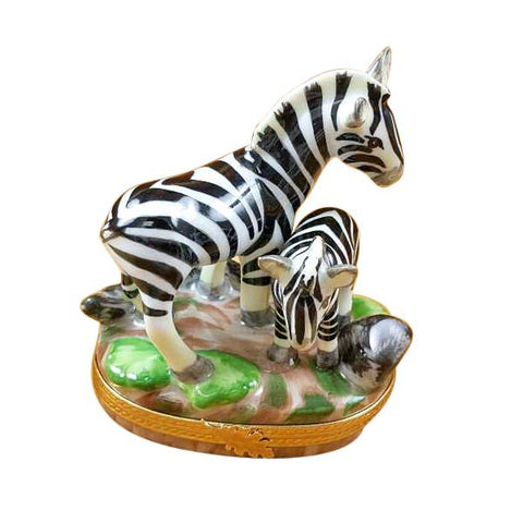 ZEBRA AND BABY LIMOGES BOXES - Limoges Boxes Porcelain Figurines