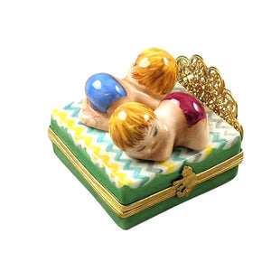 Twin Boy & Girl on Bed Limoges Box