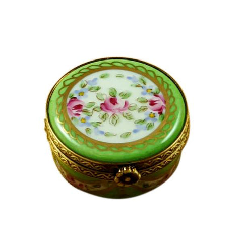 Green Oval With Flowers Traditional Limoges Box