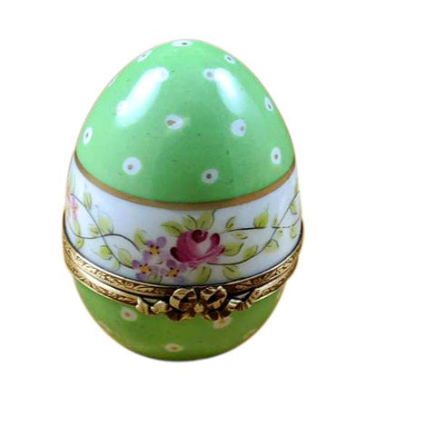 Green Egg With Flowers Traditional Limoges Box