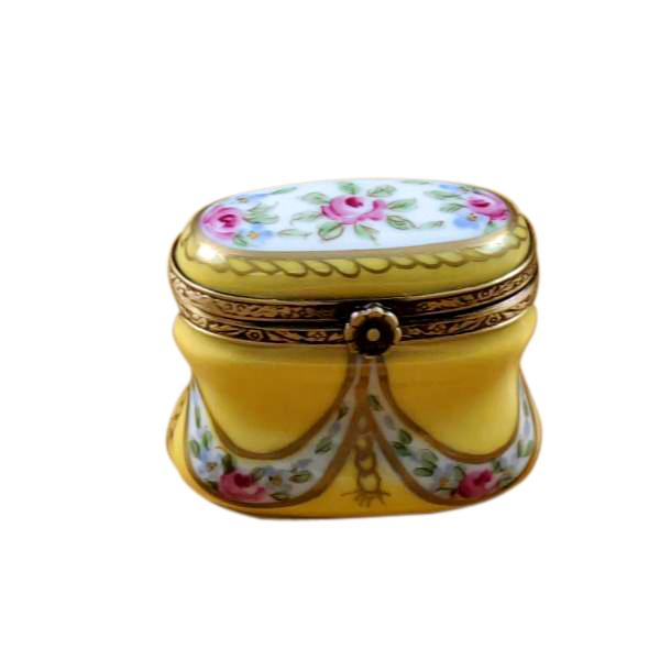 Yellow Tall Oval With Flowers Traditional Limoges Box